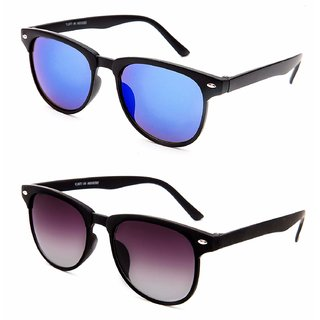 Debonair Combo of UV Protected Mirrored Blue And Black Wayfarer Sunglasses For Men, Women, Girls, Boys