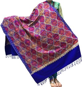 Varun Cloth House Womens Woollen Kashmiri Embroidery Shawl (vch4882, Blue, Free Size)