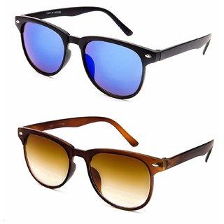 cb23bb4b102 Buy Debonair Unisex UV Protected Full Rim Blue And Brown Wayfarer Sunglasses  Pack of 2 Online - Get 86% Off