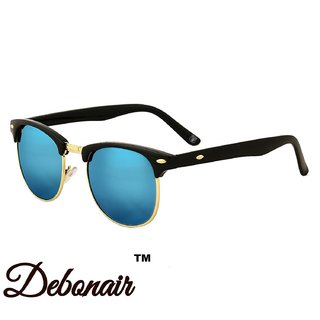 Debonair UV Protected Blue mirrored clubmaster sunglasses