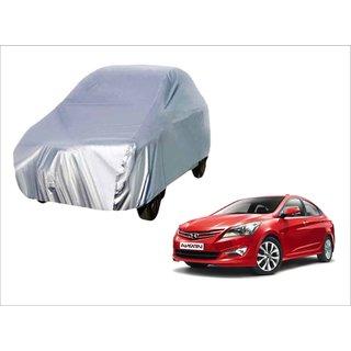 Trigcars Hyundai Verna Car Body Silver Cover + Free Car Bluetooth
