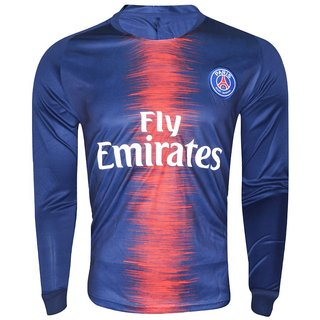 separation shoes dab16 ca384 PSG polyester dri fit full sleeve football jersey(blue)