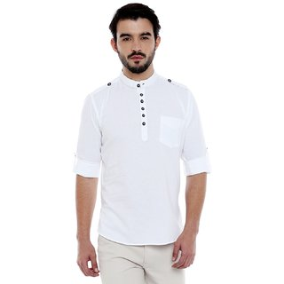 Roller Fashions White coloured short cotton kurta