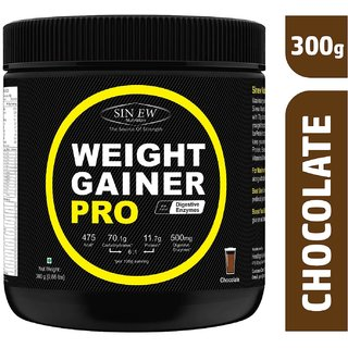 Sinew Nutrition Weight Gainer Pro with Digestive Enzymes, Chocolate, 300 Gm