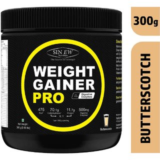 Sinew Nutrition Weight Gainer Pro with Digestive Enzymes, Butterscotch, 300 Gm