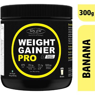 Sinew Nutrition Weight Gainer Pro with Digestive Enzymes, Banana, 300 Gm