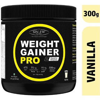 Sinew Nutrition Weight Gainer Pro with Digestive Enzymes, Vanilla, 300 Gm