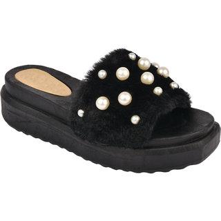 Do Bhai Women's Black Slides
