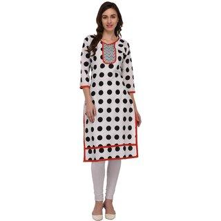 Drapes Women's Kurtis Multicolor Polka dots Printed 3/4 Sleev in Cotton Fabric