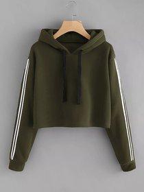 Code Yellow Women's Olive Green Side Stripe Contrast Sleeves Crop Hoodie Sweatshirt