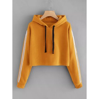 Code Yellow Women's Yellow Side Stripe Contrast Sleeves Crop Hoodie Sweatshirt