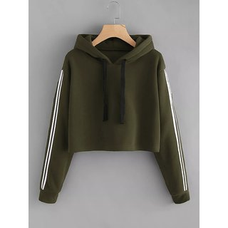 Code Yellow Women's Olive Green Side Stripe Contrast Sleeves Crop Hoodie Sweatshirt