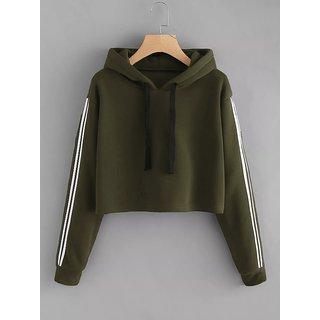 a69f43a4df6f9 Buy Code Yellow Women s Olive Green Side Stripe Contrast Sleeves Crop  Hoodie Sweatshirt Online - Get 67% Off
