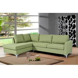 houzzcraft Landon L shape sofa in green