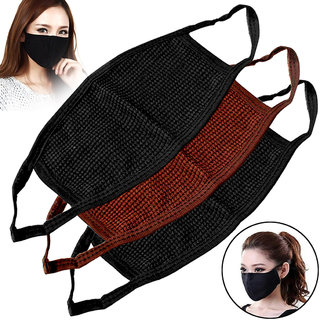 Unisex Washable Windproof Soft Anti Haze Dust Pollution Cotton Mouth Nose Face Masks Respirator Riding Gear Pack of 3