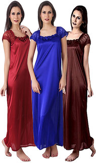 Multi Color Bridal pack of three sating nighty,gown,night wear