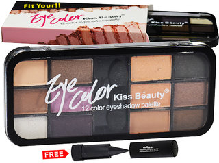 Kiss Beauty Eye Color 12Color Eyeshadow Palette Shade-A02 Pack of 1 With Adbeni Kajal Worth Rs.125/