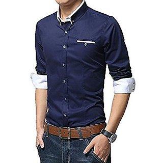 Designer Nevy White Cotton Code Shirt