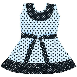 Flora's Self Design Cotton Frocks For Girls