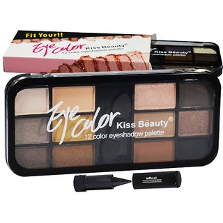 Kiss Beauty Eye Color 12Color Eyeshadow Palette Shade-A01 Pack of 1 With Free Adbeni Kajal Worth Rs.125/