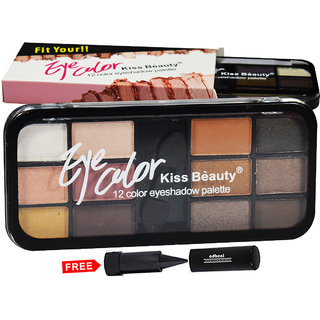 Kiss Beauty Eye Color 12Color Eyeshadow Palette Shade-B01 Pack of 1 With Free Adbeni Kajal Worth Rs.125/
