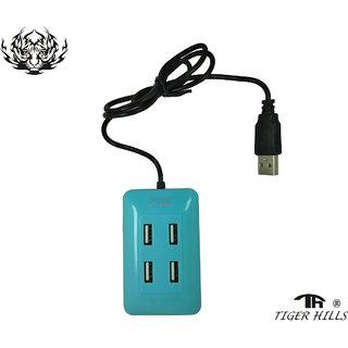 4 USB Port 2.0 High Speed Single Switch USB Hub With Color Dark-Cyan Moldel-T312182