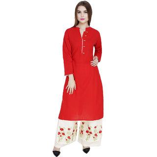 Red Color Rayon Cotton Kurti with Palazzo Set