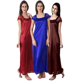 Bridal women XL Size pack of three satin nighty or gown or nightwear set