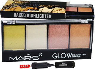 Mars Glow Highlighter Powder Palette 9466B-03 With Free Adbeni Kajal