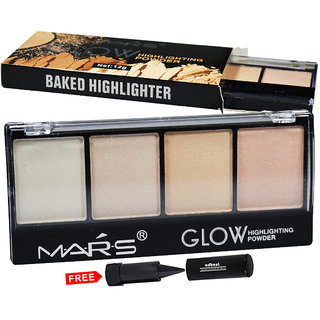 Mars Glow Highlighter Powder Palette 9466B-01 With Free Adbeni Kajal