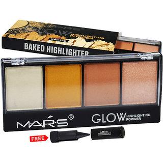Mars Glow Highlighter Powder Palette 9466B-02 With Free Adbeni Kajal