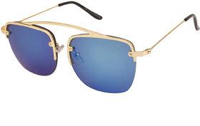 Arzonai Raees2 Square Gold-Blue UV Protection Sunglasses |Frame For Men & Women [MA-324-S4 ]