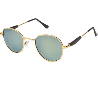 Arzonai Pento Oval Gold-Yellow UV Protection Sunglasses |Frame For Men & Women [MA-553-S6 ]
