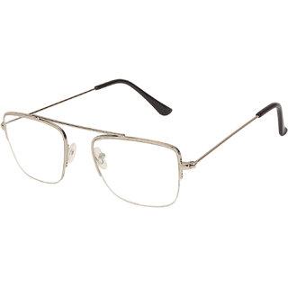 da028e96e1d Arzonai Raees Rectangle Silver-Transparent UV Protection Sunglasses