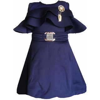 Clobay Girls Scuba Off-Shoulder Frill Party Dress