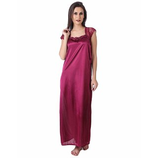 Bridal  Daily wear Pink free size  satin night dress,night wear or nighty or gown