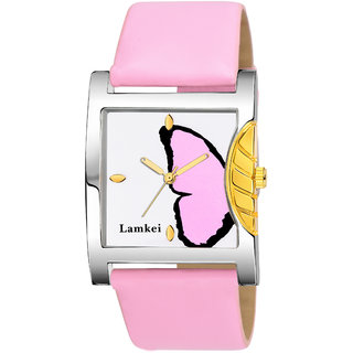335045c2529 Buy Lamkei Imported Analogue Display Multicolour Dial Baby Pink Leather  Strap Womens Watch LMK-007 Online - Get 82% Off