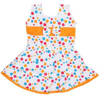 Flora's Self Design Cotton Frocks For Girls