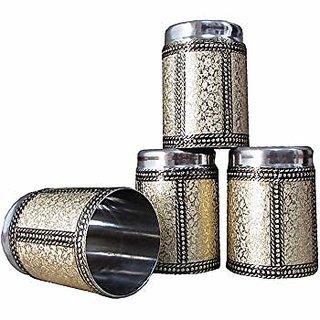 Avneesh Stainless Steel Pack of 4 Royal meenakari Glass Set Handmade