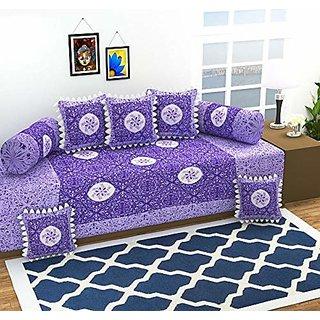 HomeStore-YEP 100 Cotton High Quality Lupi Patch Work Diwan Set, Grey (1 Single Bedsheet, 5 Cushion Covers, 2 Bolster