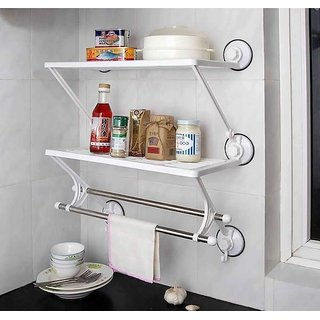 Tuzech 2 Layer Suction Hold Shelf For Kitchen Or Bathroom With Towel Stand