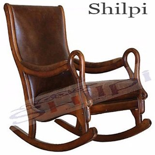 Shilpi Brown Wooden Classic and Antique Leather Rocking Chair/Easy Aaram Chair for Back Pain/Relaxing Chair