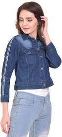 BuyNewTrend Blue Stone Wash Denim Blue Plain Jacket For Women