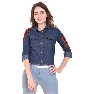 BuyNewTrend Stone Wash Denim Dark Blue Jacket For Women with Rose Patch