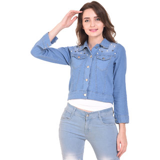 BuyNewTrend Stone Wash Denim Light Blue Jacket For Women Crafted with Pearls