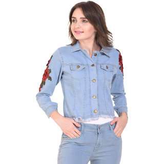 BuyNewTrend Stone Wash Denim Light Blue Jacket For Women with Rose Patch