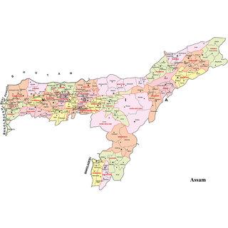 Assam Map (12 X 18 Inch Poster )