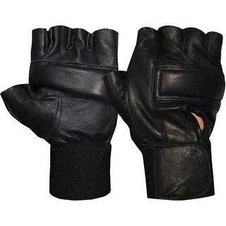 JMO27Deals Exercise Weight Lifting Leather Padding Gym  Fitness Gloves (Free Size, Black)