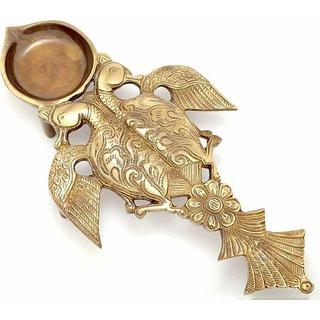 Kratidecor Twin Peacock Design Brass Pooja Spoon