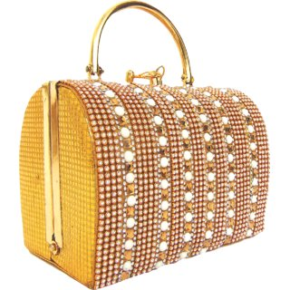 Estoss Box Designer Gold Party Clutch with Metal Sling
